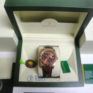 rolex replica daydate rose gold chocolate strip leather orologio replica copia imitazione