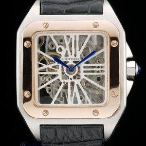 Cartier replica santos skeletron acciaio rose gold strip leather orologio imitazione perfetta
