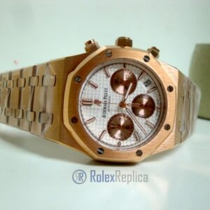 audemars piguet replica chrono royal oak leo messi rose gold white dial panda imitazione copia