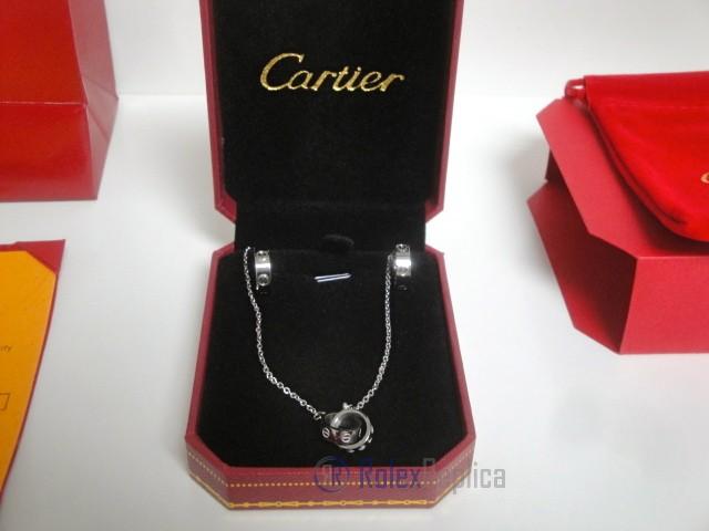 Cartier replica gioiello collier completo di orecchini love white gold