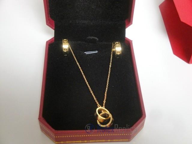 Cartier replica gioiello collier completo di orecchini love yellow gold