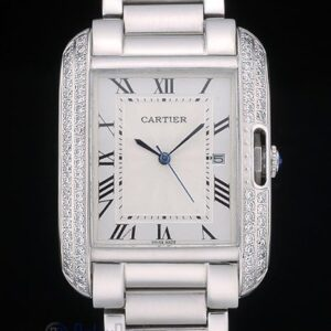 Cartier replica tank americaine acciaio brillantini bezel orologio imitazione perfetta