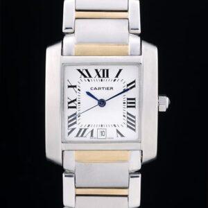 Cartier replica tank francaise acciaio oro white dial orologio imitazione perfetta