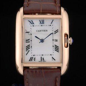 Cartier replica tank americaine rose gold strip leather brown orologio imitazione perfetta