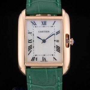 Cartier replica tank americaine rose gold strip leather green orologio imitazione perfetta