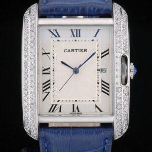 Cartier replica tank americaine acciaio brillantini bezel strip leather blu orologio imitazione perfetta
