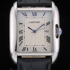 Cartier replica tank americaine acciaio strip leather black orologio imitazione perfetta