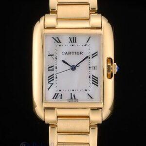 Cartier replica tank americaine oro giallo white dial orologio imitazione perfetta
