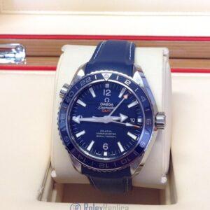 Omega replica seamaster planet ocean 43.5mm blue strip leather imitazione copia