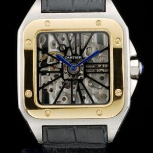 Cartier replica santos skeletron acciaio oro strip leather orologio imitazione perfetta