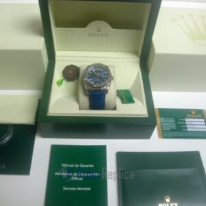 rolex replica daydate white gold blue strip leather orologio replica copia imitazione