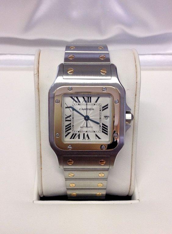 Cartier replica Santos Galbee W20058C4 white dial acciaio oro bi-colour