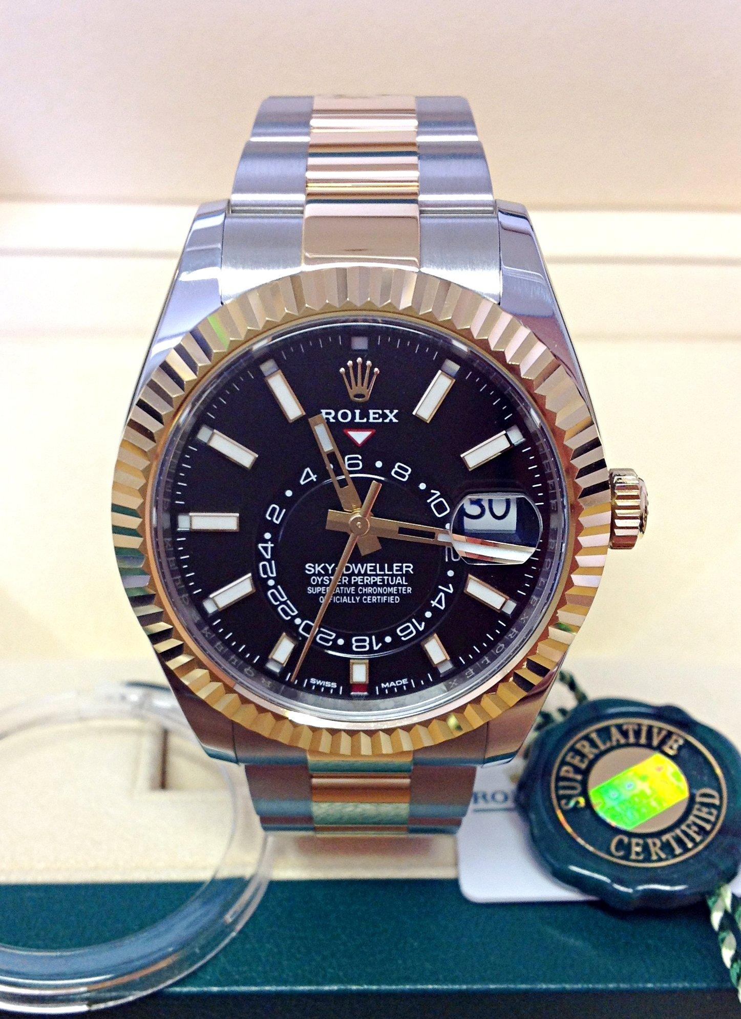 Rolex replica Sky-Dweller 326933 Bi-Colour Black Dial