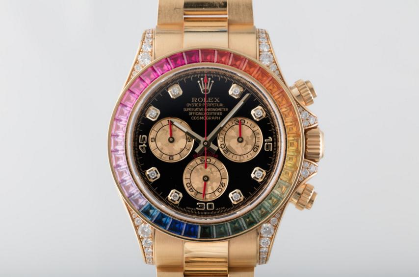 rolex replica daytona rainbow full diamonds oro giallo orologio replica